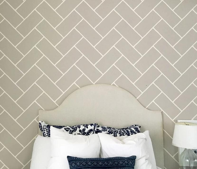кирпич елочка многоразовый трафарет для стен пола потолка мебели