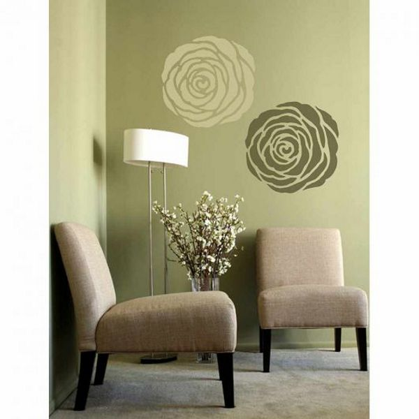многоразовый трафарет для стен пола потолка мебели роза