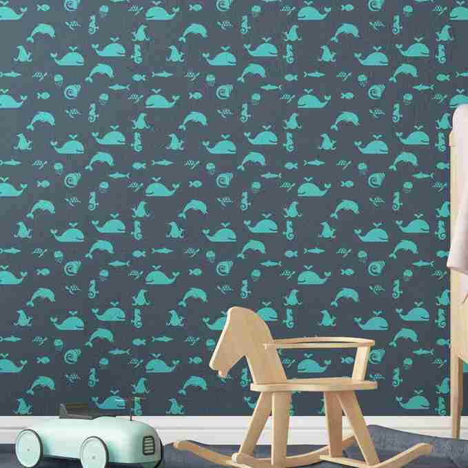 Декор стены с помощью многоразового трафарета детский фото